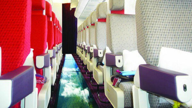 virgin glass bottom plane