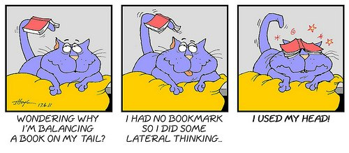 lateral thinking cat cartoon
