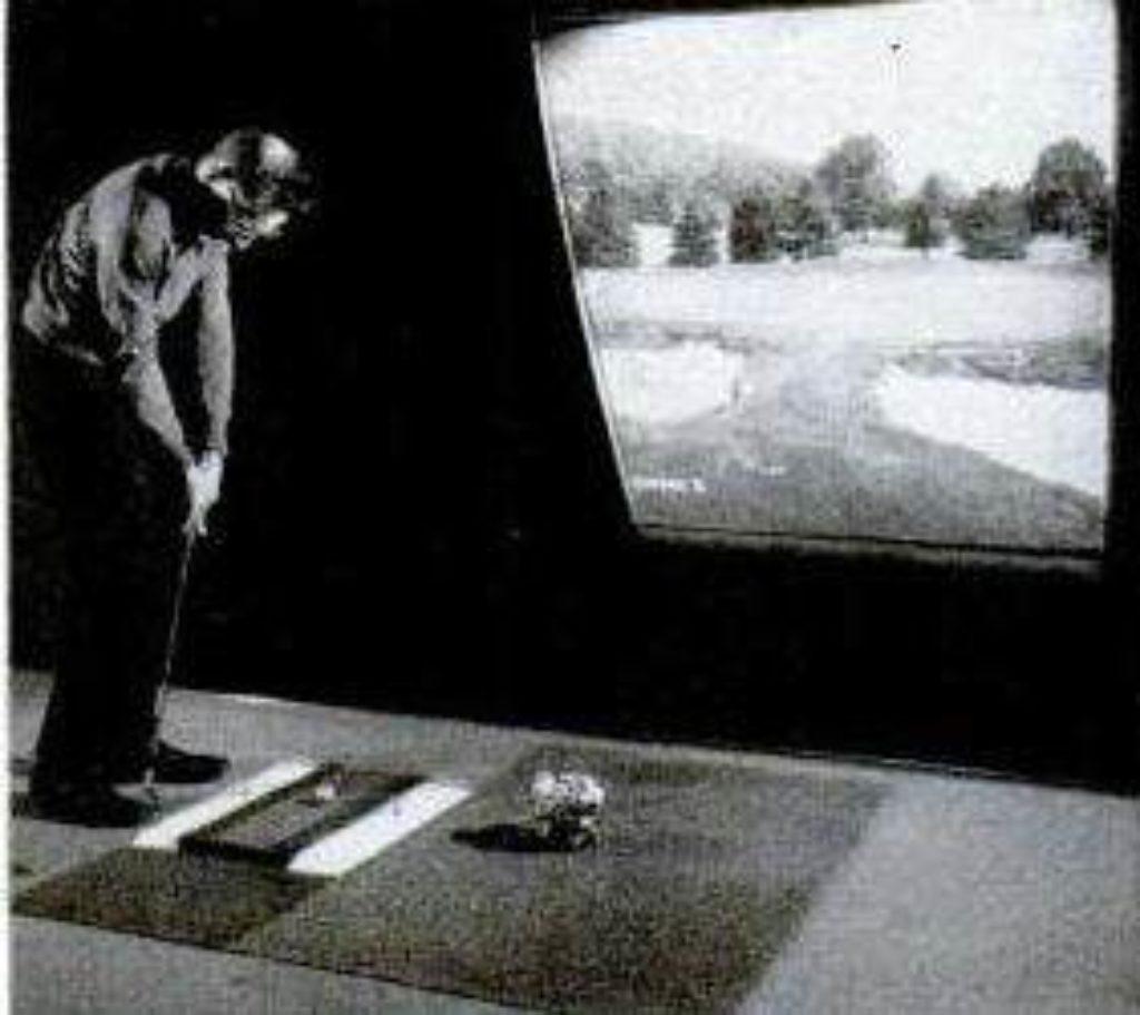 indoor golf with outdoor view