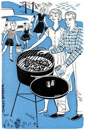 portable grill with a storage bin